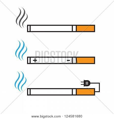 Cigarette and electronic cigarette icons vector set