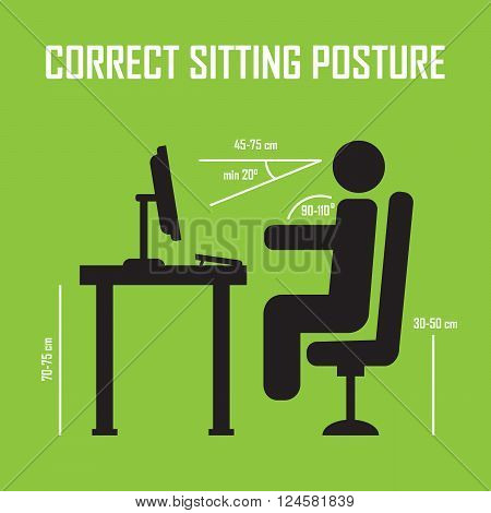 Correct sitting posture. Vector infographics. Posture correct health correct sitting body correct