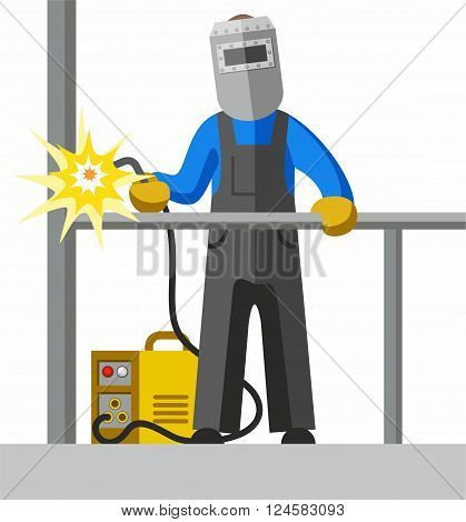 The welder welds the pipe. Vector picture. Color flat illustration on white background.