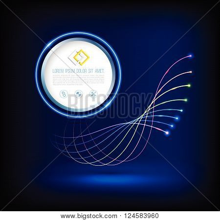 Abstract wave of fiber optic technology connections concept with circle.