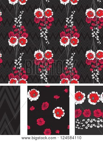Seamless Flower  Japan Roses  Pattern. Summer background garden. Vector design for fabric