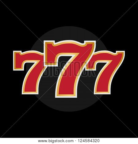 Lucky seven logo with gold sparks on black background vector eps10