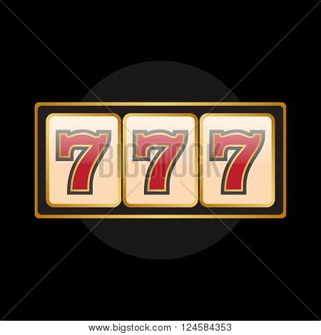 Slot machine symbols on black background. Lucky seven vector eps10