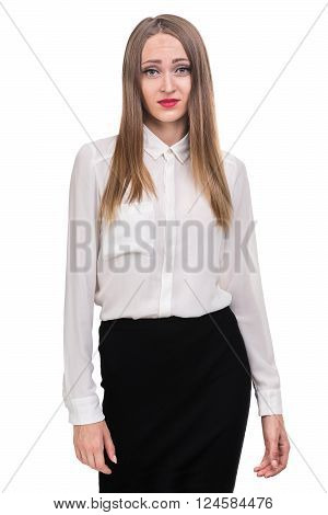 young woman looks skeptical, isolated on white studio shot