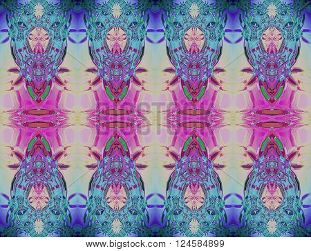 Abstract geometric seamless background. Extensive ornaments in pale yellow, pink, violet, purple and turquoise shades and elements in dark green, shining and dreamy.
