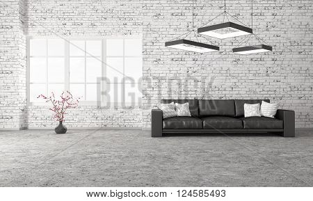 Modern Interior Of Living Room With Sofa 3D Rendering