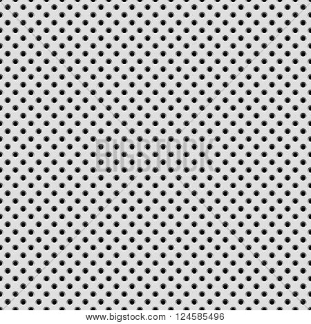 White abstract technology background with seamless circle perforated pattern, speaker grill texture for design concepts, web, presentations, interfaces and prints. Vector illustration.