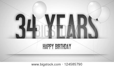 Happy Birthday Card Sign - Balloons - Banner - Anniversary - 34 Years Greetings - Illustration