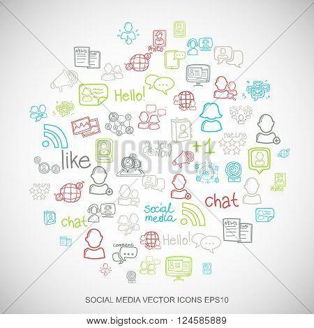 Social media Multicolor doodles Hand Drawn Social Network Icons set on White. EPS10 vector illustrat