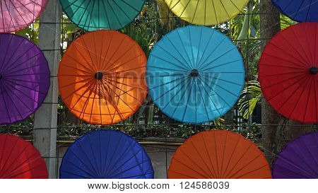 handmade colorful paper umbrellas from bo song