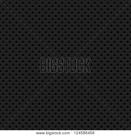 Black abstract technology background with seamless circle perforated pattern. Vector illustration.