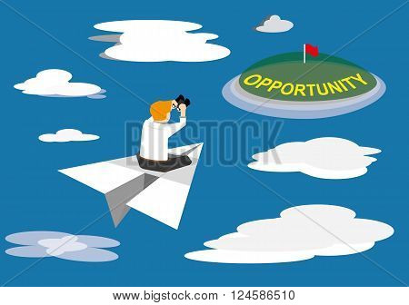 vector of businessman using binocular and looking for oppotunity message at the island on paper plane. Business concept
