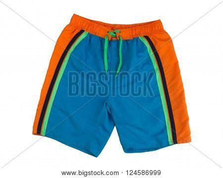 Blue shorts with orange stripes bathing. Isolate on white.