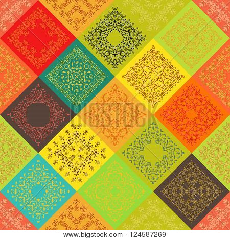 Seamless abstract colorful vintage ceramic tiles with Moroccan pattern frame of trendy flower ornament. Background textures. For fabric textile swatch. India, Islam mexican ethnic. Orange, red yellow