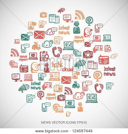 News Multicolor doodles Hand Drawn News Icons set on White. EPS10 vector illustration.