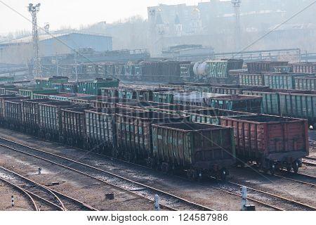 Donetsk, Ukraine - February 12, 2016: Empty railcars near the smelter. Donetsk Ukraine