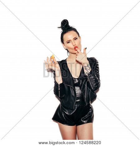 Woman Licking Finger