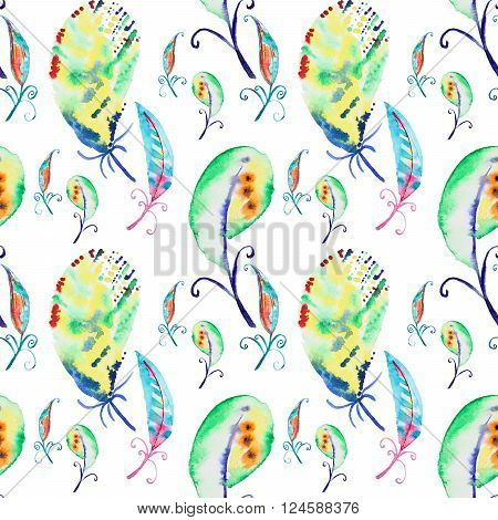 Seamless watercolor pattern with feathers. Vintage seamless pattern with feathers. Watercolor paint. Feathers pattern for wallpaper design. Watercolor seamless background.
