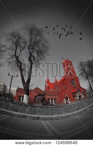 Belarussian Roman Catholic Church Of Saints Simon And Helen (Red Church) On Independence Square In Minsk Belarus