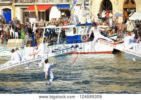 SETE FRANCE - March 26 2016: Water Jousting performance during Stopover in Sète - Maritime Traditions Festival from the 22 to 28 march 2016 at the streets of Sete South of France