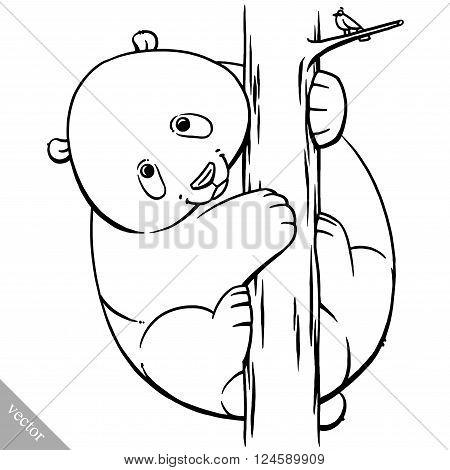 funny cartoon cute cool fat vector panda bear illustration