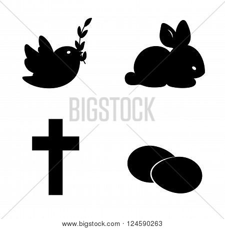 Easter icon Set. Bird bunny crossa and eggs. Christian orthodox symbols. Vector illustration.