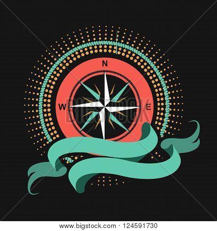 Marine emblem wind rose on a black background