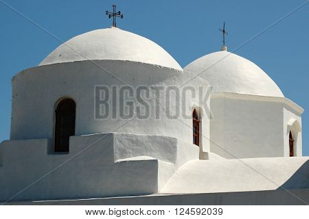 Cupolas from Greek Orthodox Church at Patmos island in Greece