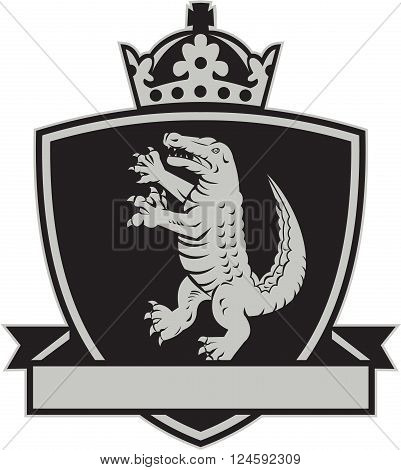 Illustration of coat of arms of an angry gator alligator crocodile standing viewed from side set inside crest shield with crown on top and leaf ribbon done in retro style on isolated background.