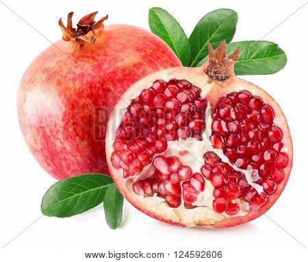 tasty pomegranates isolated on the white background.