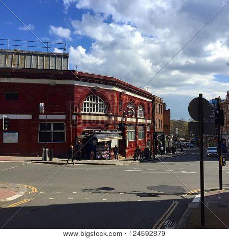 HAMPSTEAD - APRIL 5: Hampstead Underground Station on April 5, 2016 in Hampstead, London, UK.