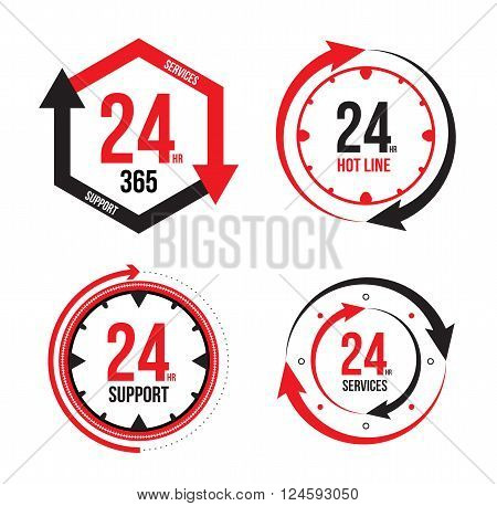 Vector : 24/7 365 Days Icon, Badge, Label or Sticker for Customer Service, Support, Call Center or CRM Concept Isolated on White Background