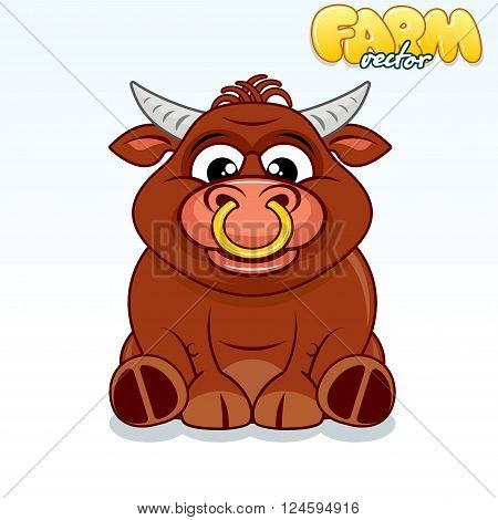 Cute Cartoon Brown Buffalo. Funny Vector Animals Series