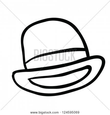 black and white bowler hat cartoon
