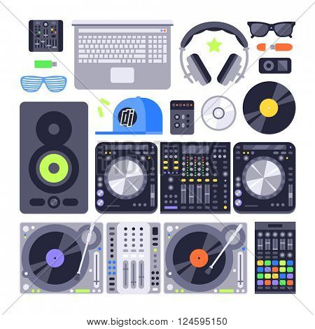 Vector set various stylized dj music equipment icon nightclub mixing turntable volume disc control.
