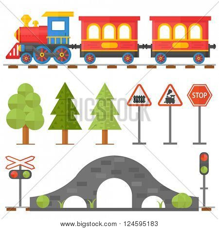 Railway design concept set with station steward railroad passenger toy train flat icons vector illustration.