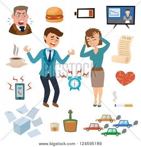 Stress people pressure workplace tired unhappy adult sad problem frustration set vector illustration.