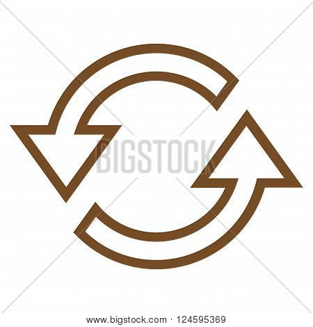 Sync Arrows vector icon. Style is thin line icon symbol, brown color, white background.
