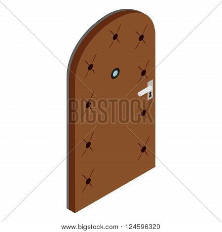 Arched door covered with leather icon in isometric 3d style isolated on white background