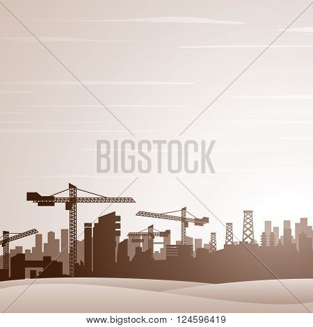 City Construction Background. Vector Ready for Your Text and Design.