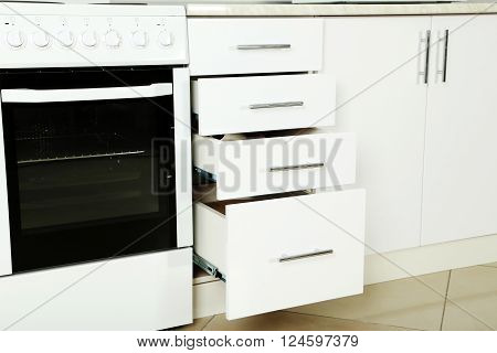 Electric Stove  With Boxes In The Kitchen, Close Up