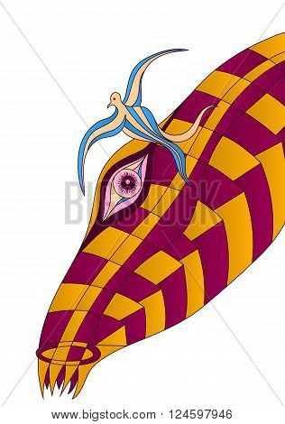 Futuristic vivid animal and bird psychedelic vector surreal poster.