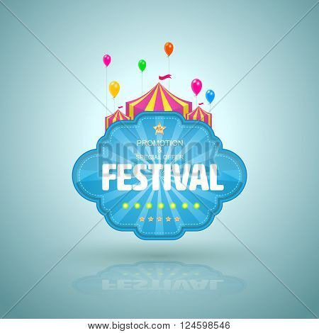 Promotion banner with circus tent and balloon. Vector illustration.
