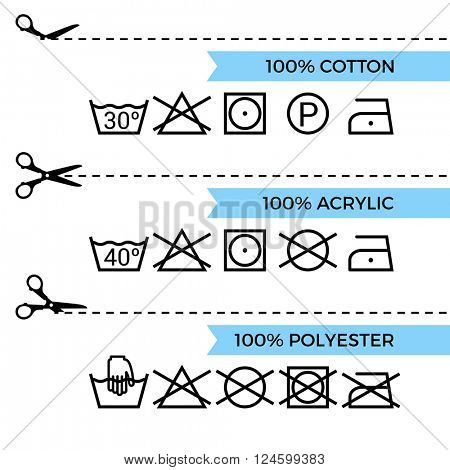 Guide to laundry care symbols. Cotton, polyester, acrylic. Scissors with cut lines