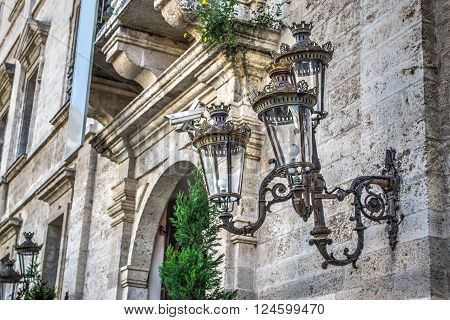 classic style lamp in Palazzo Ducale in Sassari Italy