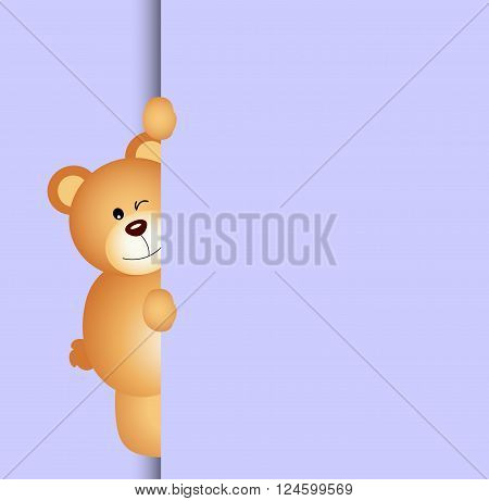 Scalable vectorial image representing a teddy bear peeking out on background.
