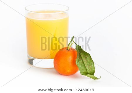 Glass Of Orange Juice And An Orange