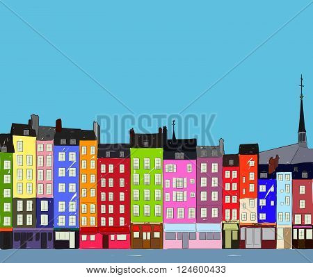 Bright colorful city houses of Honfleur near the river. Hand-drawn sketch. Flat design.