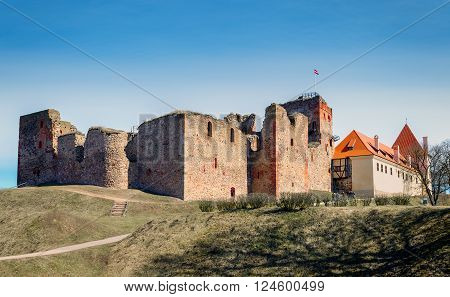 Ruins of the medieval castle in Bauska, Latvia