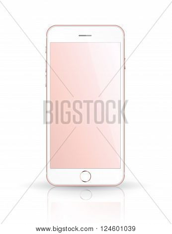New realistic mobile phone smartphone iphon style mockup with pink screen isolated on white background. Vector illustration.